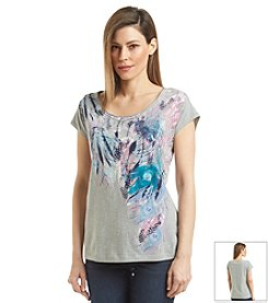 Relativity® Crew Cascade Feather Graphic Tee
