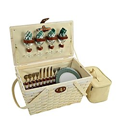 Picnic at Ascot Settler Green Whitewash Picnic Basket for Four