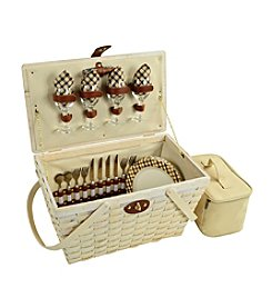 Picnic at Ascot Settler London Whitewash Picnic Basket for Four