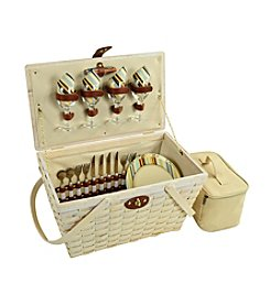 Picnic at Ascot Settler Santa Cruz Whitewash Picnic Basket for Four