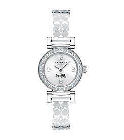 COACH MADISON FASHION STAINLESS STEEL ETCHED BANGLE WATCH