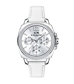 COACH BOYFRIEND SMALL MULTIFUNCTION WHITE STRAP WATCH