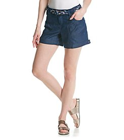 One 5 One® Floral Belt Chambray Shorts