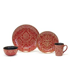 Baum Damask Red 16-pc. Dinnerware Set