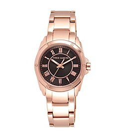Vince Camuto™ Women's Polished Rose Goldtone Bracelet Watch with Black Dial