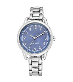 Nine West® Silvertone Case with Sky Blue Dial Watch