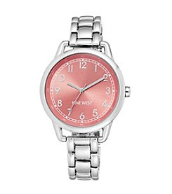 Nine West® Silvertone Case with Bright Coral Dial Watch