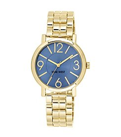 Nine West® Goldtone Watch with Pale Blue Dial
