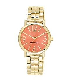 Nine West® Goldtone Watch with Coral Dial