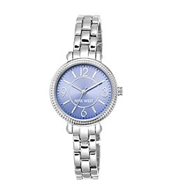 Nine West® Slim Silvertone Bracelet with Blue Dial Watch