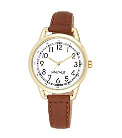Nine West® Goldtone Watch with Slim Brown Strap