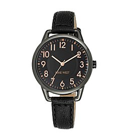 Nine West® Gun Metal Watch with Slim Black Strap
