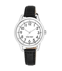 Nine West® Silvertone Watch with Slim Black Strap