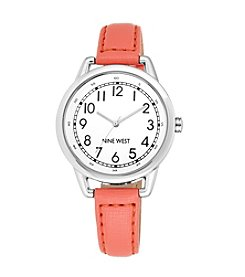 Nine West® Silvertone Watch with Slim Coral Strap