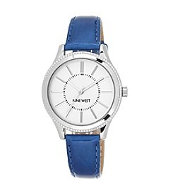 Nine West® Deep Blue Strap Watch with Silvertone Case