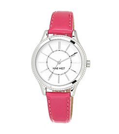 Nine West® Bright Pink Strap Watch with Silvertone Case
