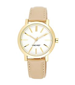 Nine West® Tan Strap Watch with Goldtone Case