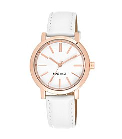 Nine West® White Strap Watch with Rose Goldtone Case