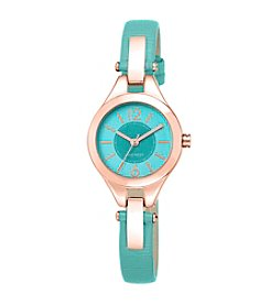 Nine West® Teal Strap with Rose Goldtone Watch and Hinge Detail