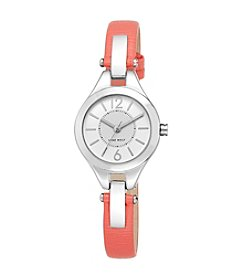 Nine West® Coral Strap with Silvertone Case and Hinge Detail Watch