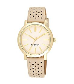 Nine West® Goldtone Case with Perforated Strap Watch
