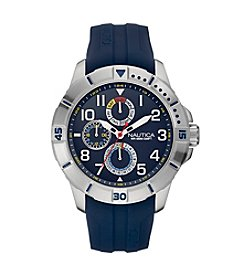 Nautica® Men's NSR 300 Silvertone/Navy Watch
