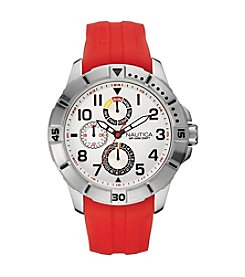 Nautica® Men's NSR 300 Silvertone/Red Watch