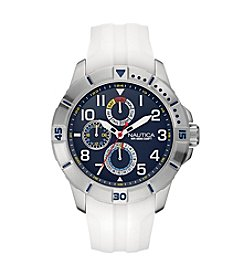 Nautica® Men's NSR 300 Silvertone/White Watch