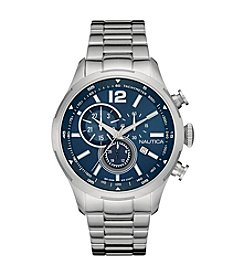 Nautica® Men's NCS 18 Silvertone Bracelet Chronograph Watch