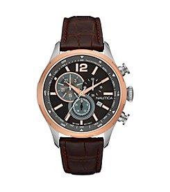 Nautica® Men's NCS 18 Rose Goldtone Brown Croco Leather Chronograph Watch