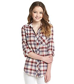 Sequin Hearts® Plaid Roll Sleeve Shirt