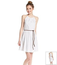 Sequin Hearts® Eyelet Belted Dress