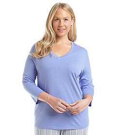 HUE® Plus Size Plus 3/4 Sleeve Lounge Shirt
