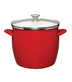 Sabatier® Red Enamel on Steel Stock Pot with Glass Lid