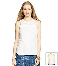 Lauren Jeans Co.® Crocheted-Yoke Cotton Top