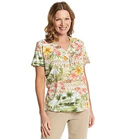 Alfred Dunner® Key Largo Tropical Floral Knit Top