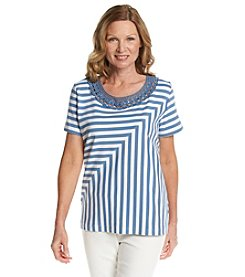 Alfred Dunner® Paradise Island Spliced Stripe Knit Top