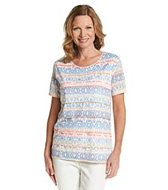 Alfred Dunner® Paradise Island Geometric Ruffle Knit Top