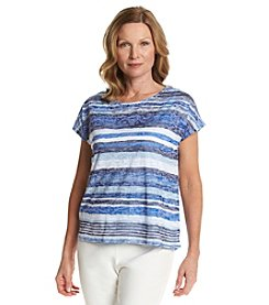 Ruby Rd.® Stripe Burn Out Knit Top
