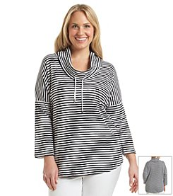 Jones New York Signature® Plus Size Stripe Cowl Neck Top