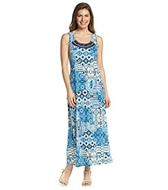 NY Collection Petites' Printed Embellished Maxi Dress