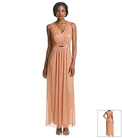 Nine West® Metallic Ribbed Gown