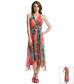 Chetta B Printed Chiffon Halter Maxi Dress