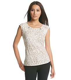 Calvin Klein Animal Print Zipper Top