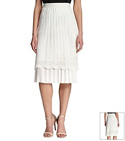 Robert Rodriguez® Pleated Skirt With Lace Overlay