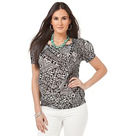 Chaps® Patchwork Peasant Top