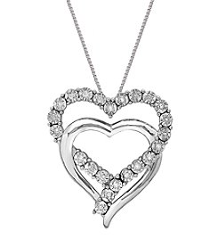 .11 Ct. T.W. Diamond Double Heart Pendant In Sterling Silver