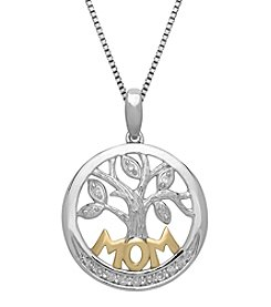 Diamond Accented Mom Pendant In Sterling Silver
