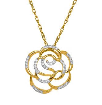 .12 ct. t.w. Diamond Rose Pendant In 10k Yellow Gold
