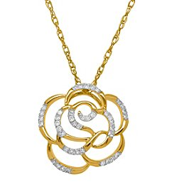 .12 ct. t.w. Diamond Rose Pendant In 10k Yellow Gold